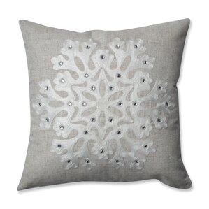 white throw pillow. snowflake square throw pillow white