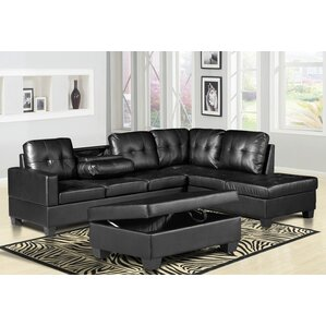 Haskett 3 Piece Faux Leather Reversible Sectional with Ottoman by Latitude..