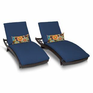 TK Classics Bali Chaise Lounge with Cushion (Set of 2)