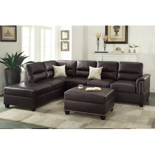 Bobkona Toffy Reversible Sectional With Ottoman by Poundex #1