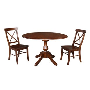 Vanslyke Round Top 3 Piece Drop Leaf Solid Wood Dining Set August Grove