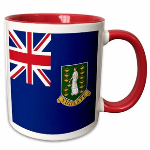 Galles Flag of the British Virgin Islands British Union Jack with Saint Ursula Shield Coat of Arms Coffee Mug