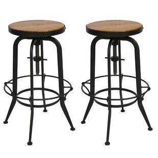 Dunamoy Adjustable Height Swivel Bar Stool (Set of 2) by