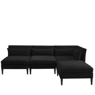Alayna Modular Reversible Sectional with Ottoman Upholstery Color: Velvet Black by Brayden Studio