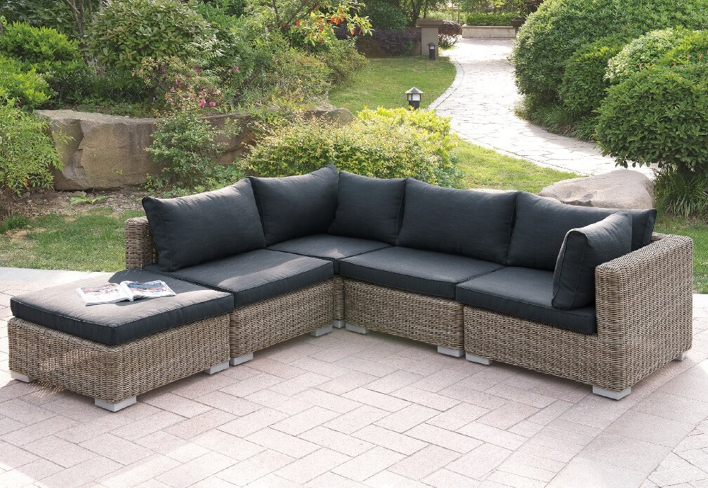 Incroyable Au0026J Homes Studio Harvey 5 Piece Patio Sectional Set II With Cushions |  Wayfair
