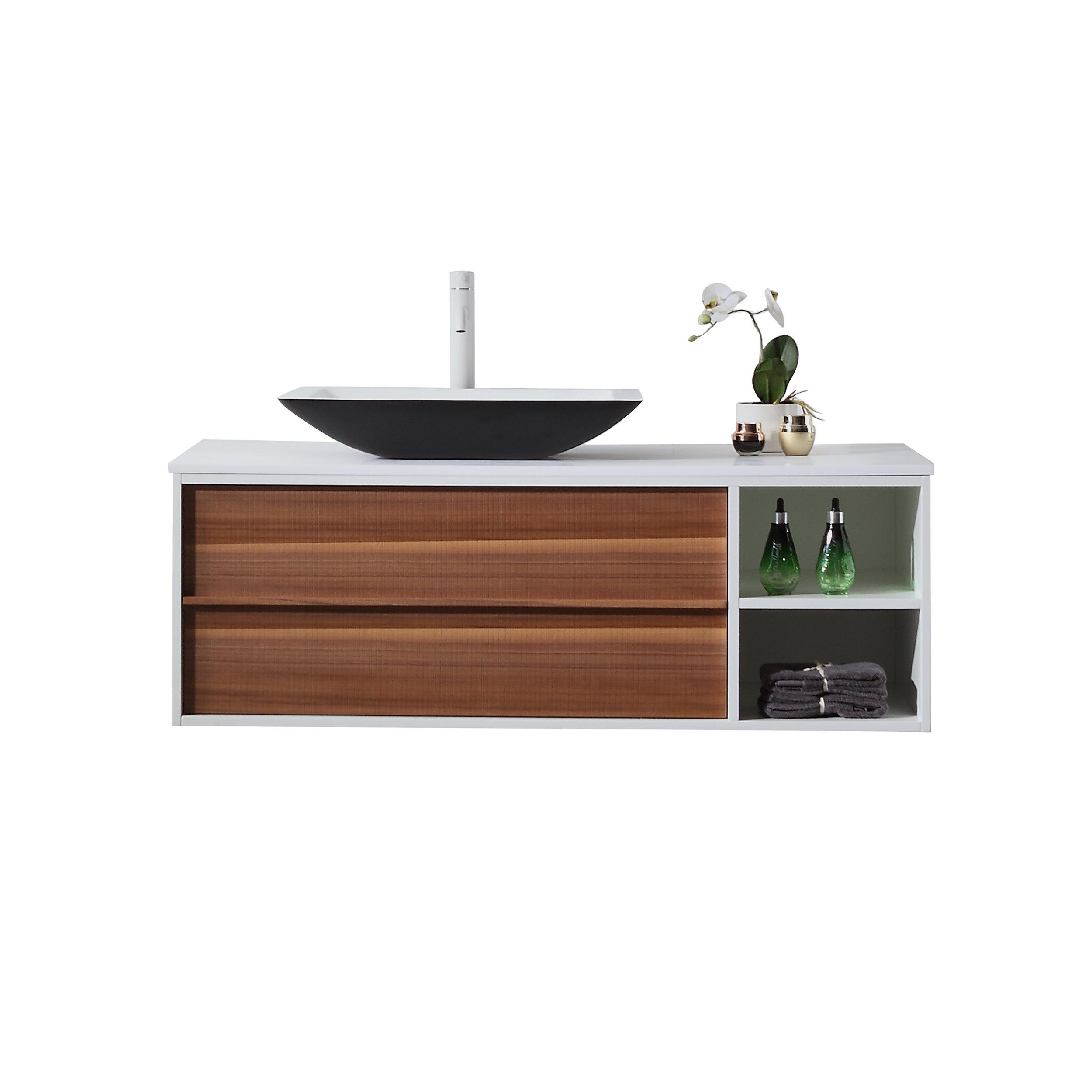 Kartonrepublic Goreme 48 Wall Mounted Single Bathroom Vanity Set Reviews Wayfair