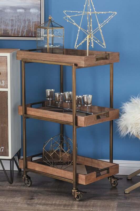 Metal Wood Bar Cart