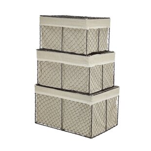 Fieldon 3 Piece Rectangular Lined Wire Storage Basket Set