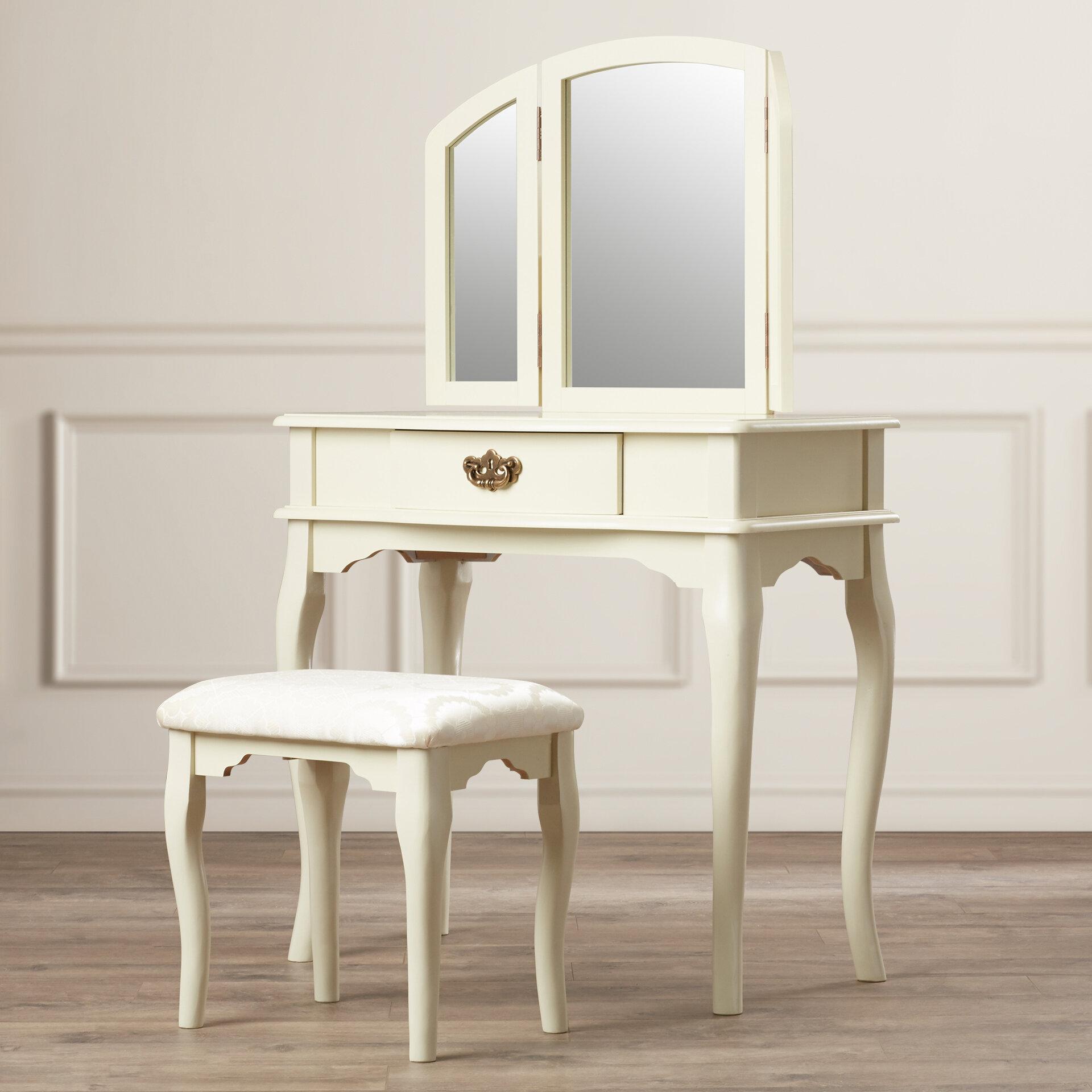 tri fold mirror vanity set. Charlton Home Livingston 3 Piece Vanity Set with Trifold Mirror  Reviews Wayfair