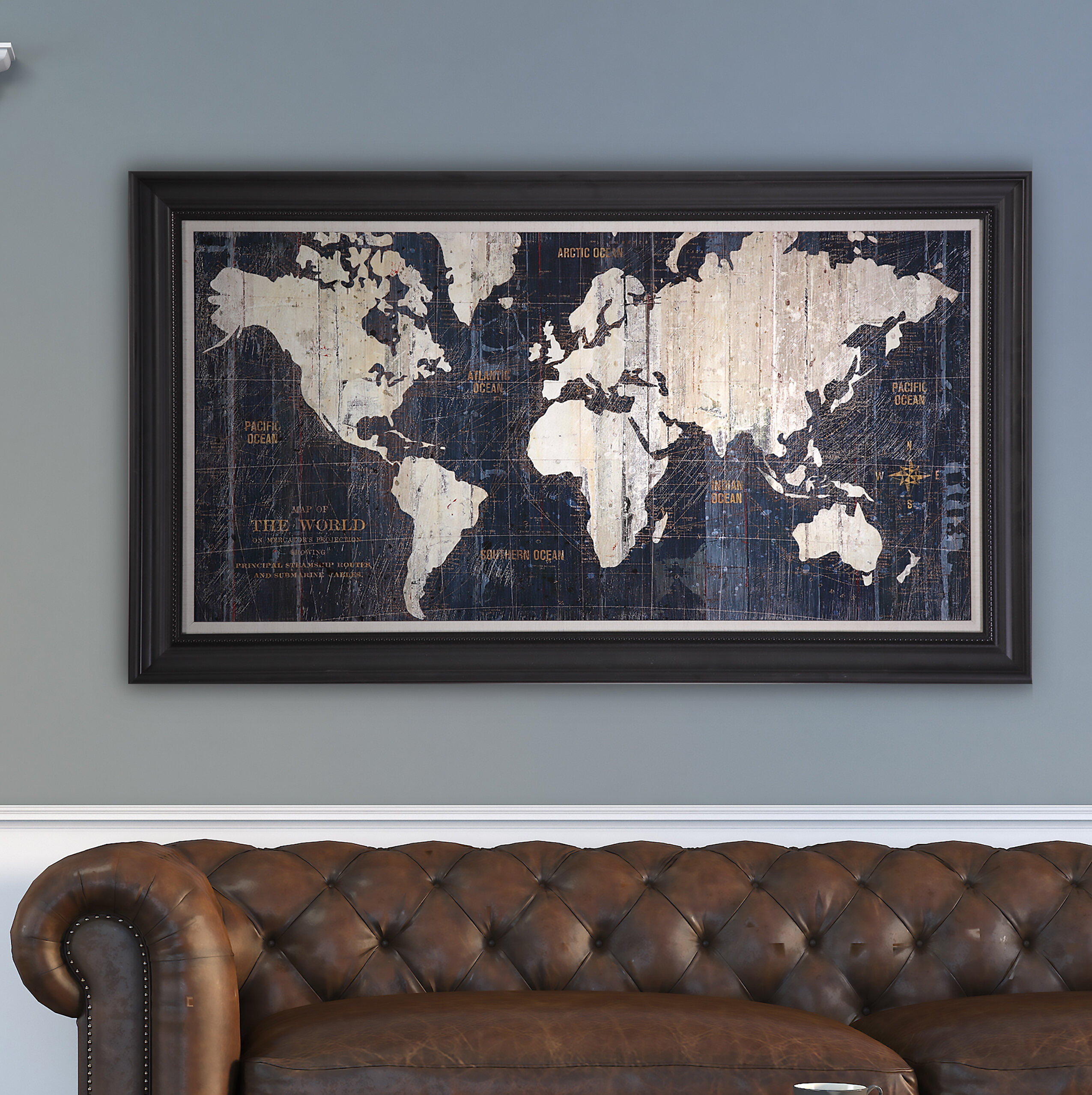 Old World Map Canvas.Old World Map Blue Framed Graphic Art On Wrapped Canvas Reviews