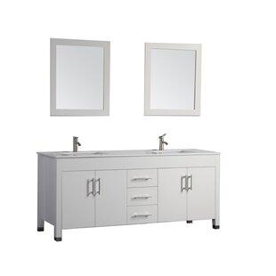 Presler 72 inch  Double Sink Bathroom Vanity Set with Mirror