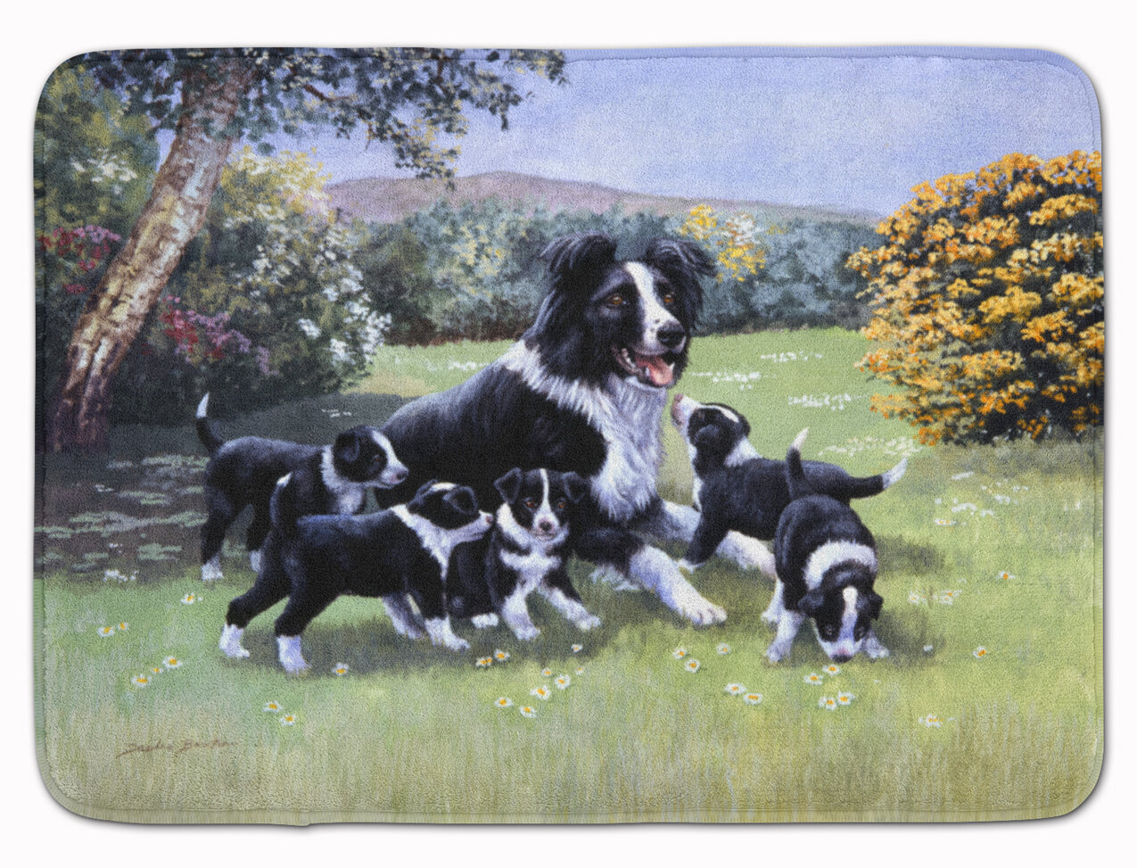 East Urban Home Border Collie Puppies With Momma Rectangle Microfiber Non Slip Bath Rug Wayfair
