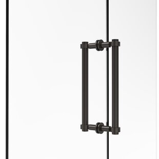 Contemporary 12 Back to Back Shower Door Pull with Grooved Accent by Allied Brass