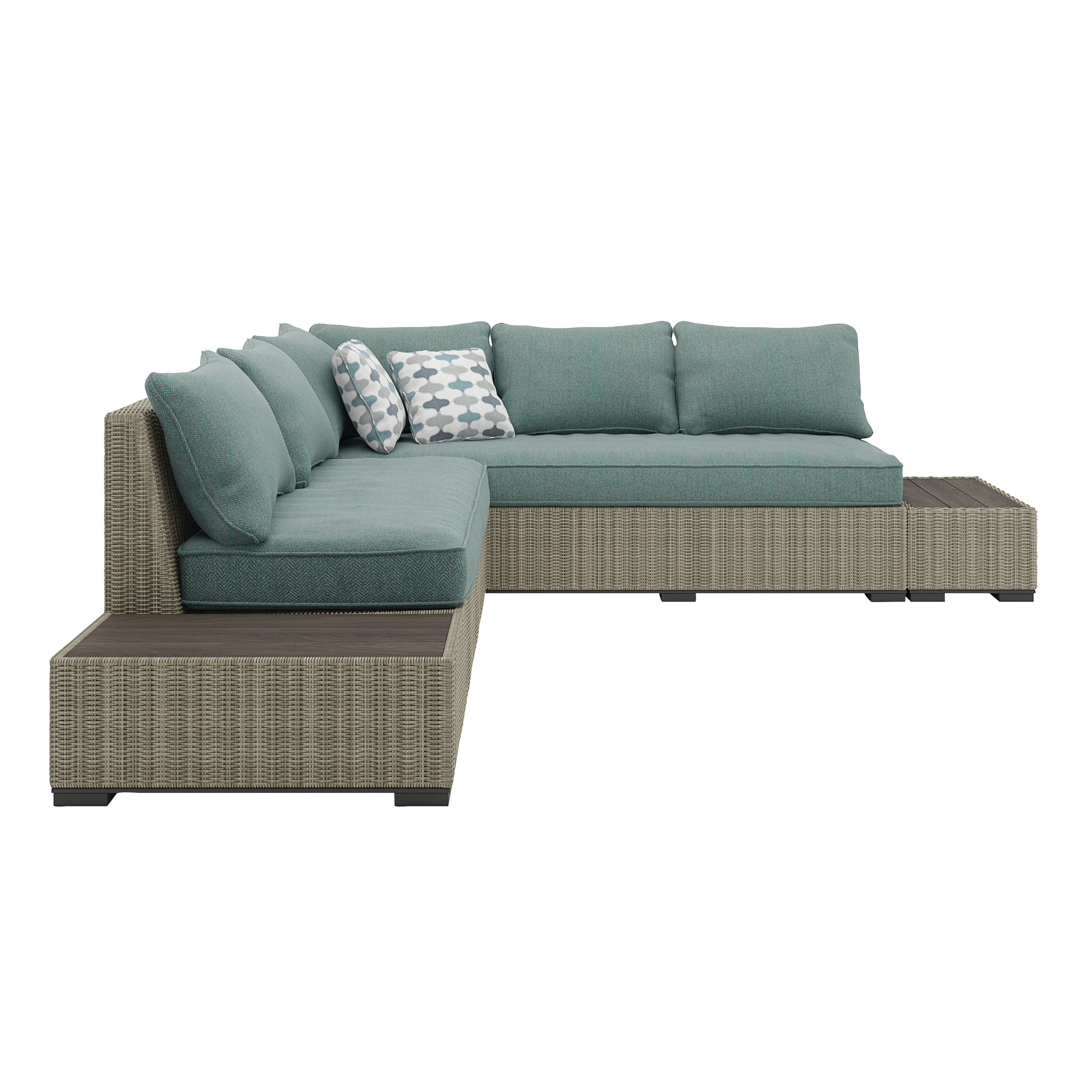 Rosecliff Heights Dyess Patio Sectional With Cushions | Wayfair