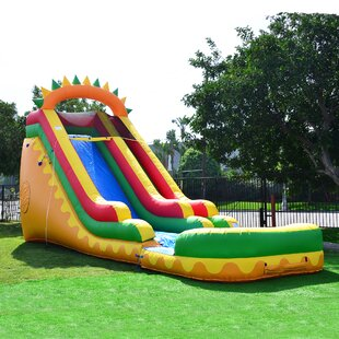 JumpOrange Dino Fun Super Wet/Dry Water Slide with 100% PVC