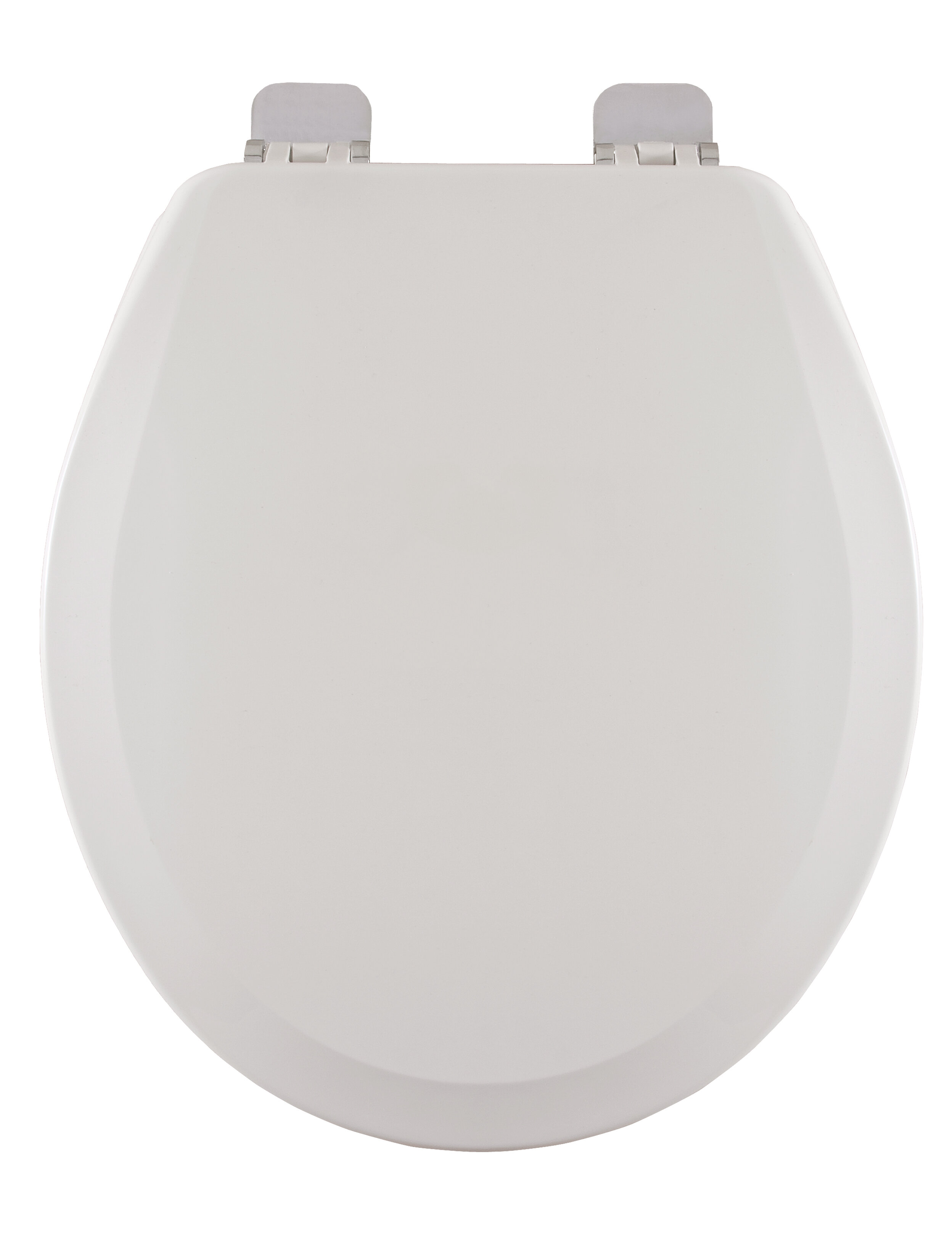 Centoco 700bn 001 Round Wooden Toilet Seat Heavy Duty Moulded Wood With Centocore Technology White With Brushed Nickel Hinge