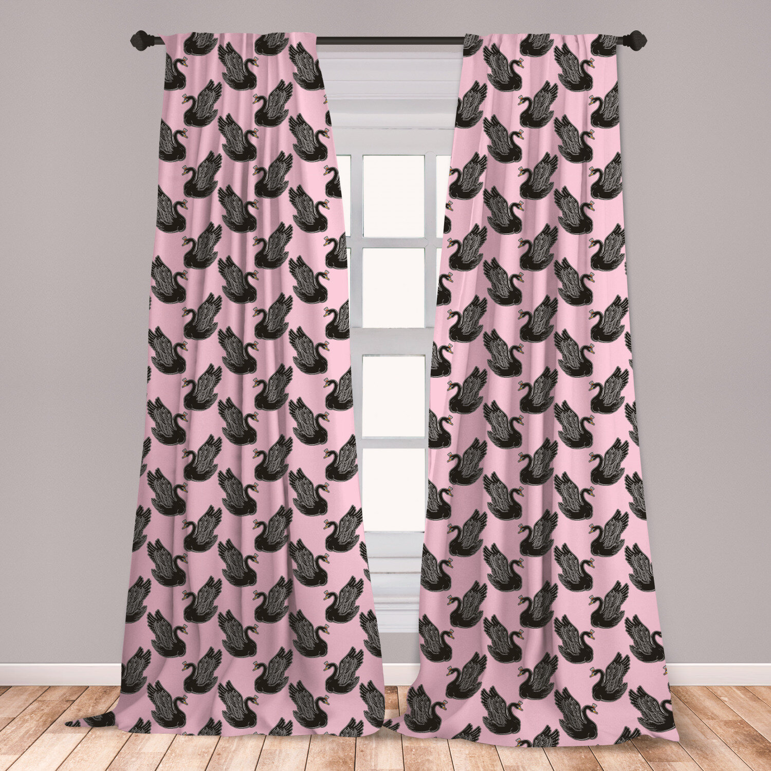 East Urban Home Ambesonne Swan Curtains Vintage Pin Up Pattern With Black Swan Princess For Girls Kids Nursery Window Treatments 2 Panel Set For Living Room Bedroom Decor 56 X 63 Pale