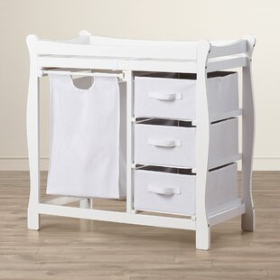 Ocean Alexander Sleigh Style Baby Changing Table with 3 Baskets and Hamper By Viv + Rae