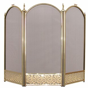 3 Panel Steel Fireplace Screen By World Menagerie