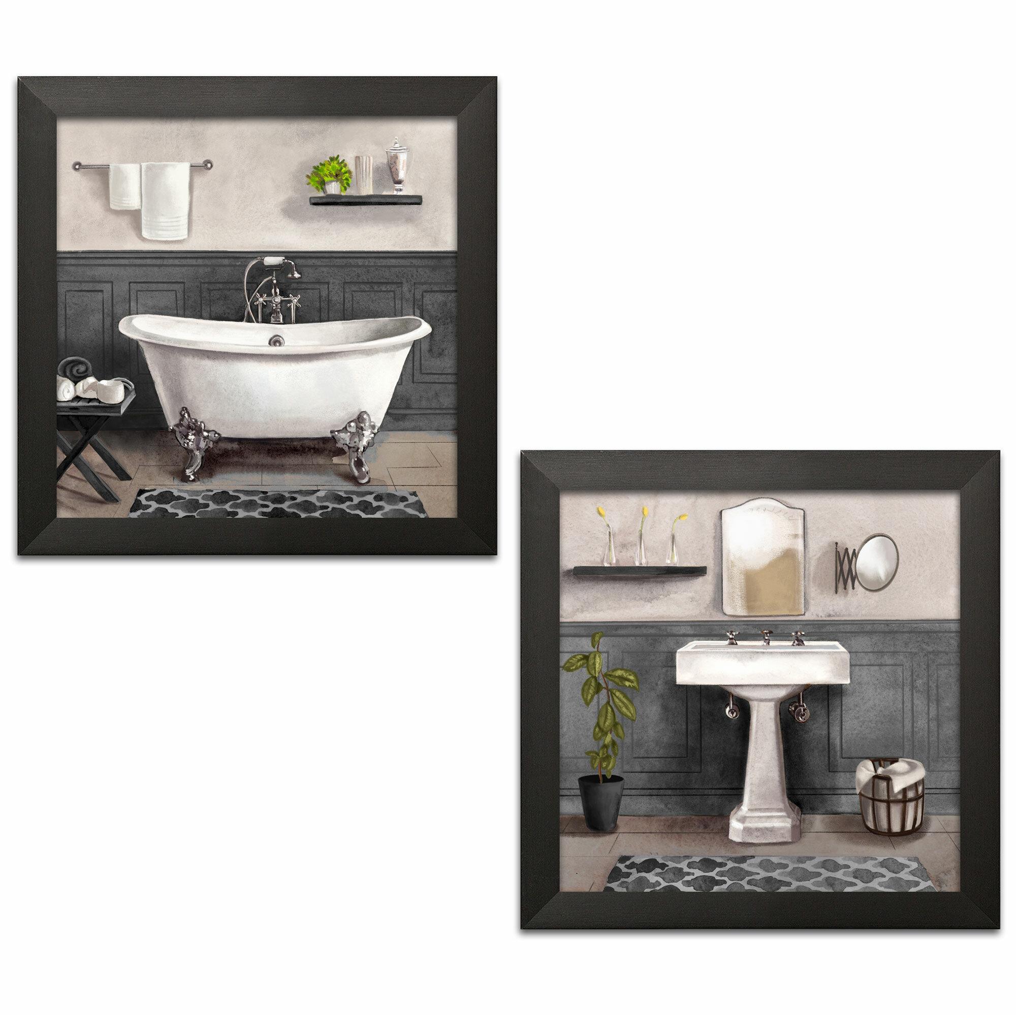 Fleur De Lis Living Serene Bath I Ii Black White By Bannarot 2 Piece Picture Frame Painting Print Set On Paper Wayfair