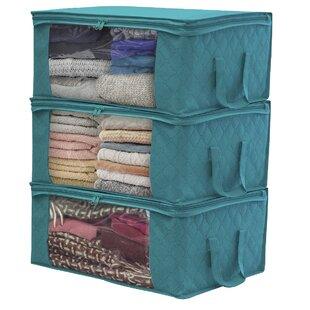 Best Choices Aqua Fiber Clothing Underbed Storage (Set of 3) By Rebrilliant