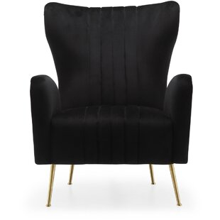 Everly Quinn Spady Velvet Wingback Chair