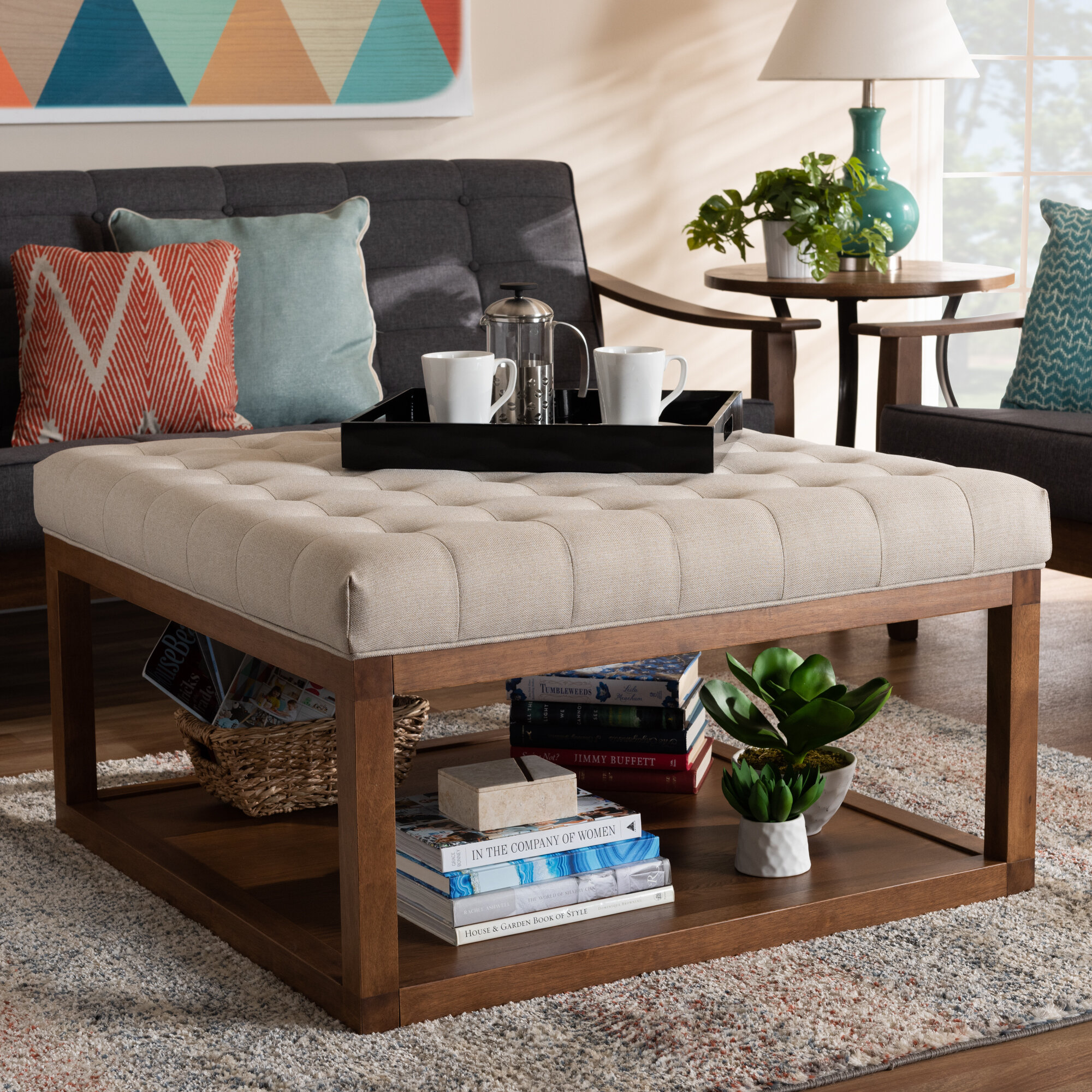 Josue Modern And Contemporary Grey Fabric Upholstered Walnut Finished Cocktail Ottoman