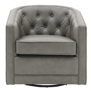 Cavendish Top Grain Leather Swivel Barrel Chair