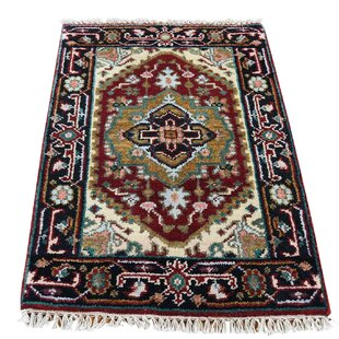 Best Reviews One-of-a-Kind Kempinski Overdyed Worn Hand-Knotted Wool Red/Black Area Rug ByCanora Grey