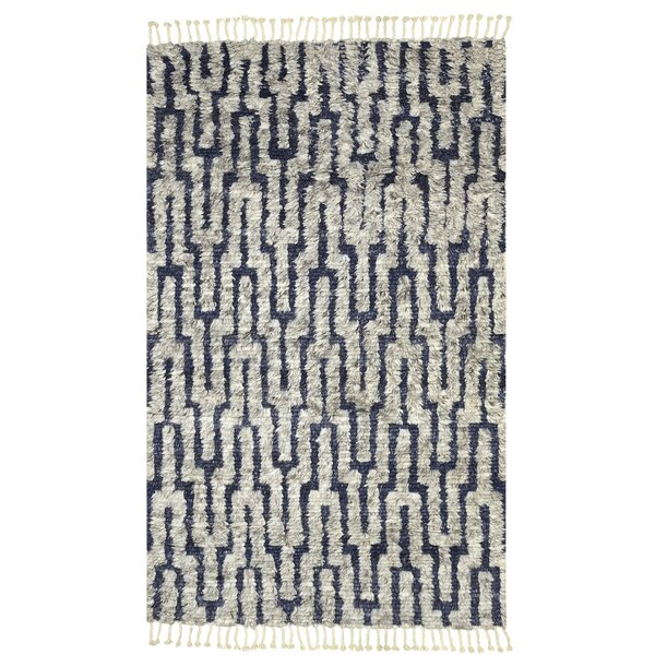 Cale Boho Chic Hand Knotted Wool Navy Beige Area Rug