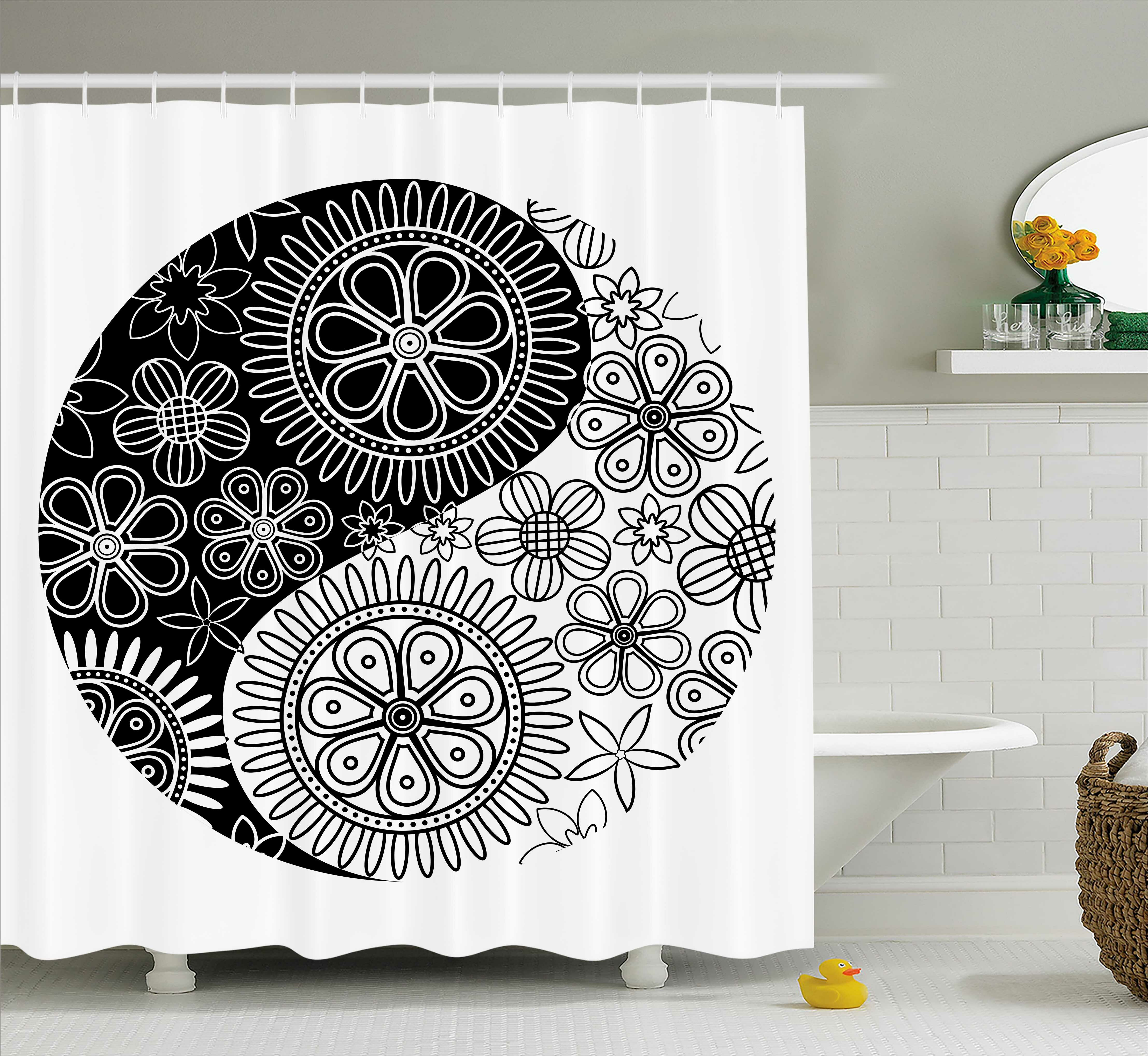 East Urban Home Black White Ying Yang Decor Floral Balance Single Shower Curtain Wayfair
