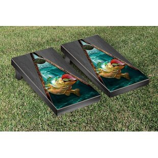 Victory Tailgate Bass Fishing Onyx Stained Triangle Version Cornhole Game Set