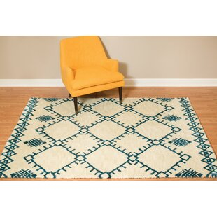 Affordable Pisano Cream/Navy Blue Area Rug By Bungalow Rose