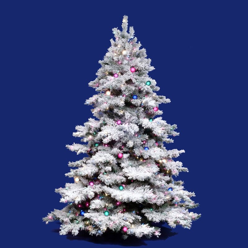 Flocked Alaskan 3 White On Green Artificial Christmas Tree With 100 Dura Lit Clear