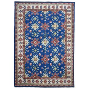 Marjorie Hand-Woven Wool Blue/Red Area Rug