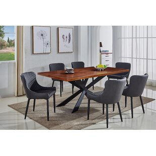 Mercury Row Dupont Upholstered 7 Piece Dining Table Set