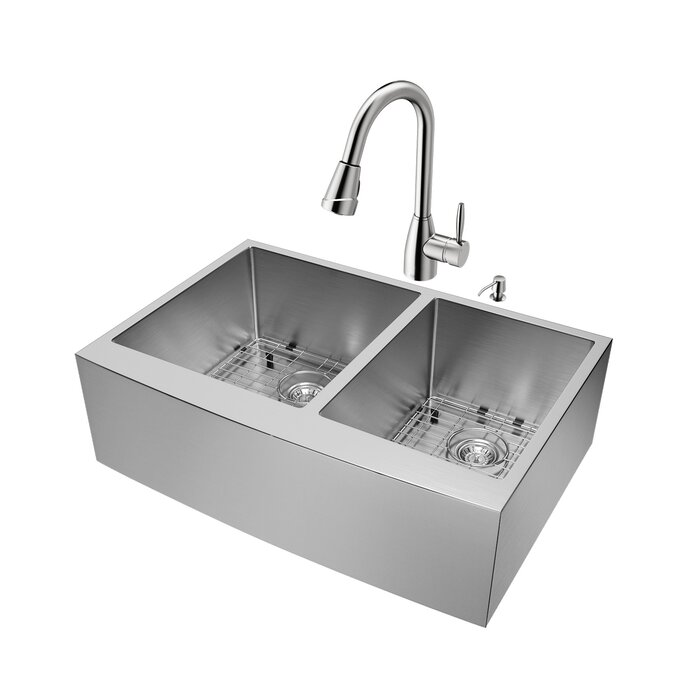 33 inch Farmhouse Apron 60/40 Double Bowl 16 Gauge Stainless Steel Kitchen  Sink with Graham Stainless Steel Faucet, Two Grids, Two Strainers and Soap  ...