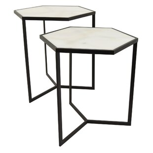 Reiban Metal Marble Top 2 Piece Nesting Tables