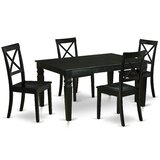 Cartana 5 Piece Extendable Solid Wood Dining Set by Winston Porter
