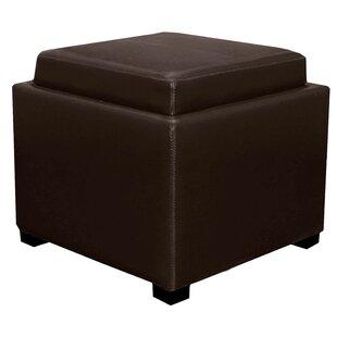 Jeddo Leather Cube Ottoman by Red Barrel Studio