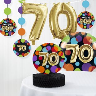 Balloon 70th Birthday Decorations Kit Set Of 7