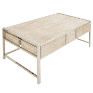 Fabiola Stainless Steel Wood Coffee Table by Union Rustic