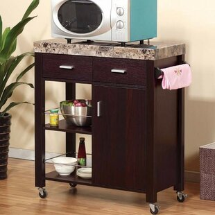 Houchins Kitchen Cart with Faux Marble Top Fleur De Lis Living