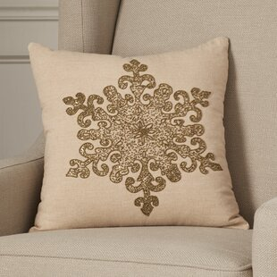 Faversham Snowflake Beaded Cotton Throw Pillow