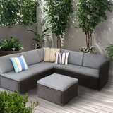 Brettlee 4 Piece Rattan Sofa Seating Group with Cushions by Latitude Run®
