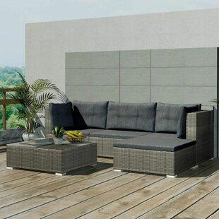 4 Sitzer Lounge Set Dunlap Aus Polyrattan Mit Polster