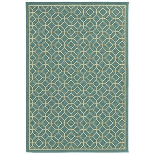 Liza Geometric Blue/Ivory Indoor/Outdoor Area Rug byLangley Street