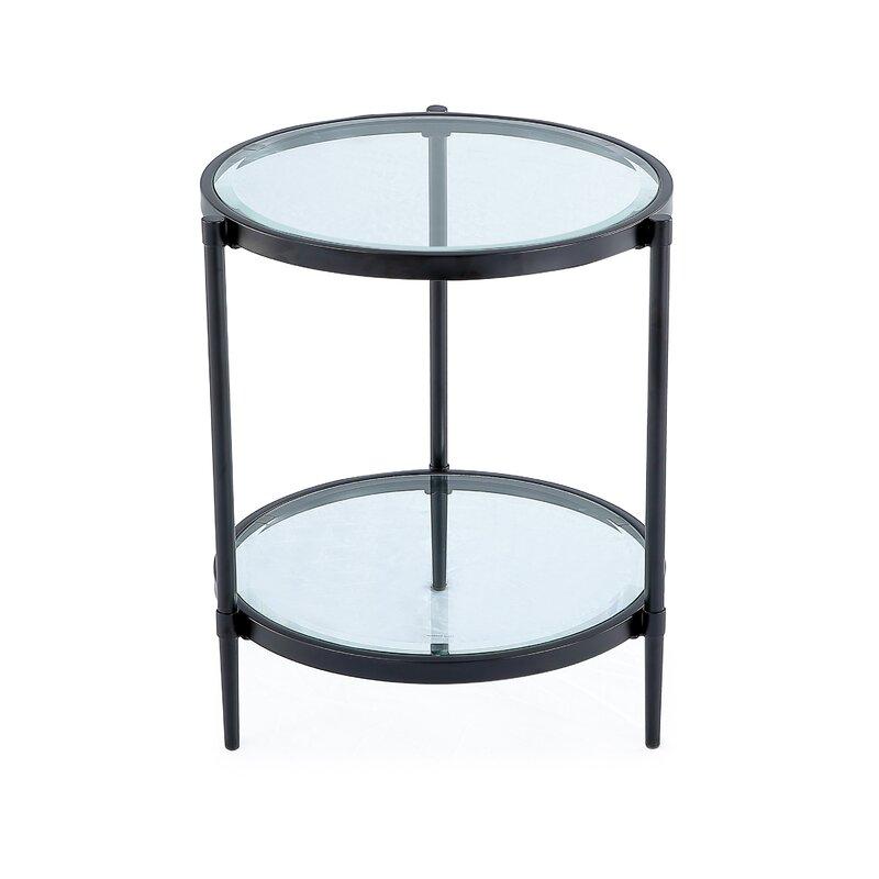 Furniture Black Glass Shelfs Chrome Finish Legs 2 Tier End Table Newspaper Storage Kisetsu System Co Jp