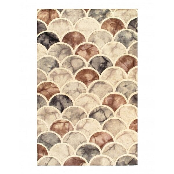 Rosecliff Heights Valor Geometric Handmade Tufted Brown Gray Area Rug Wayfair
