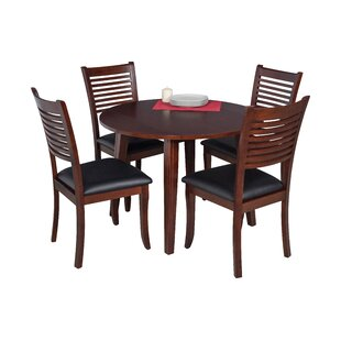Dinh 5 Piece Drop Leaf Solid Wood Dining Set